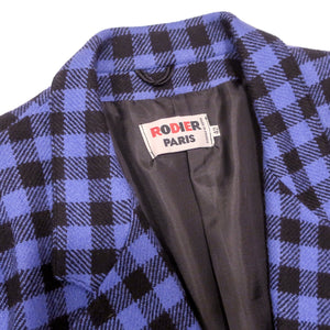 Second Room Vintage Clothing. Vintage Rodier Paris wool and cashmere blazer, in beautiful periwinkle blue and black plaid pattern. This blazer is made in France, fully lined, with two buttons for closure, and two buttons on each cuff. Free North American shipping on all orders.