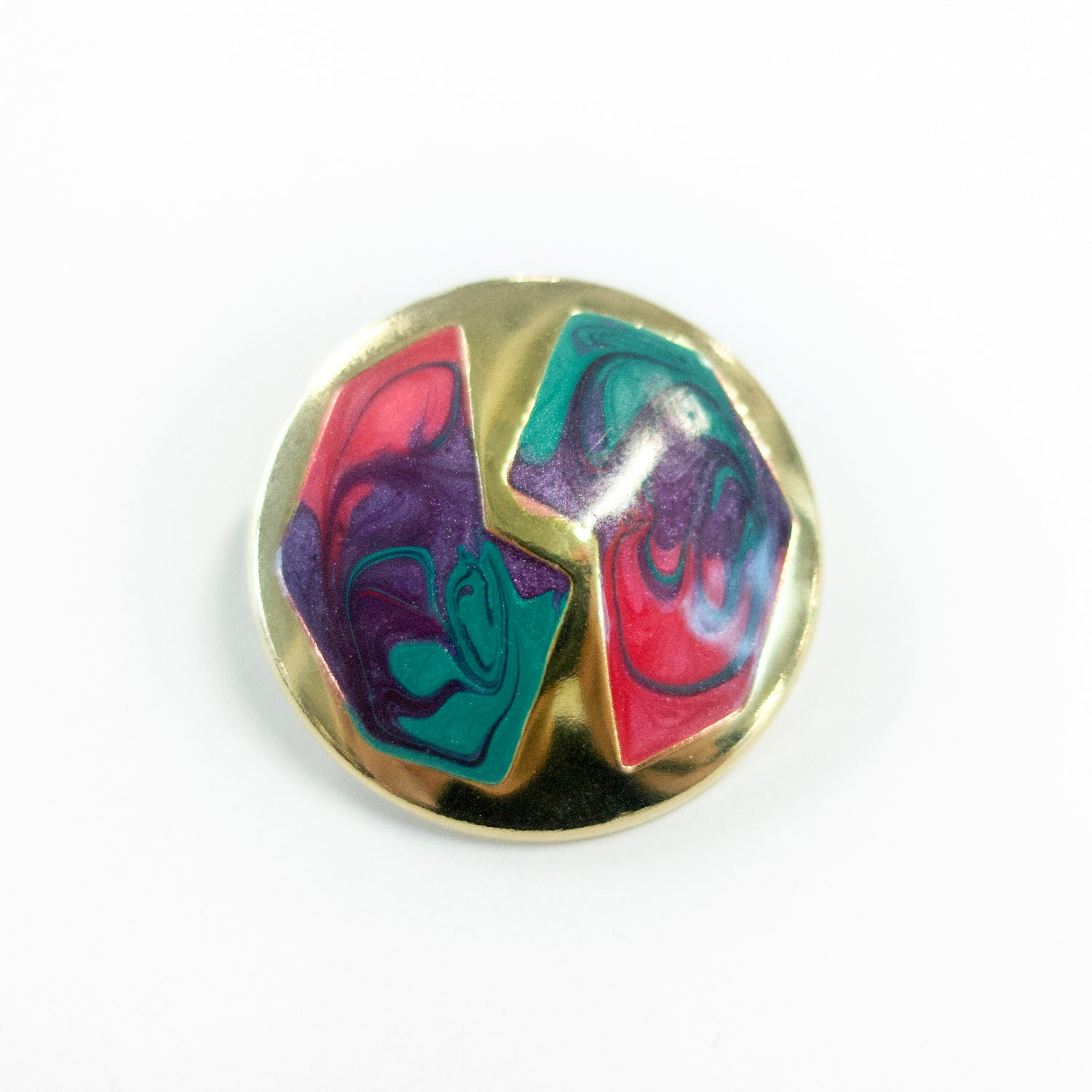 "Second Room Vintage Clothing. Vintage round, gold tone enamel stud earrings with paint swirl design in pink, purple and green. Earrings are 1.25"" across. Original earring backs have been replaced with new, clear silicone backings. Free North American shipping on all orders."