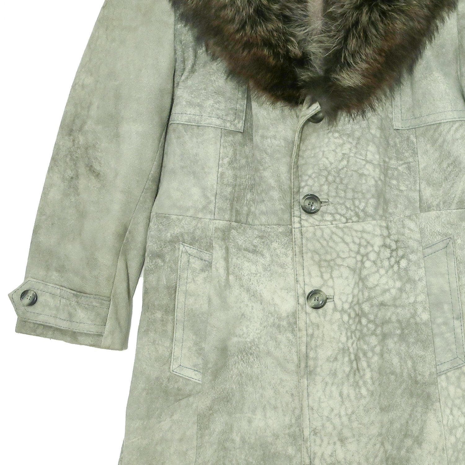 Second Room Vintage Clothing. Vintage 1970s men's gray coat with fur collar. The upper portion of this jacket is lined in a polyester type fabric, while the bottom half is lined in plaid wool. It has a 3 button front, two front pockets, one inside pocket, and one button detail on each cuff. Free Shipping on all orders within North America.
