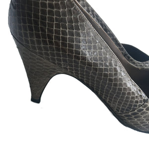 "Second Room Shop Vintage. Shop vintage, shop sustainable. Vintage snakeskin pumps with almond toe and 2.75"" heel height."