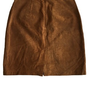 "Second Room Shop Vintage. Shop vintage, shop sustainable. This gorgeous vintage brown suede skirt is perfect for fall! It is fully lined, and has a 6"" back slit, and zipper and snap closure."