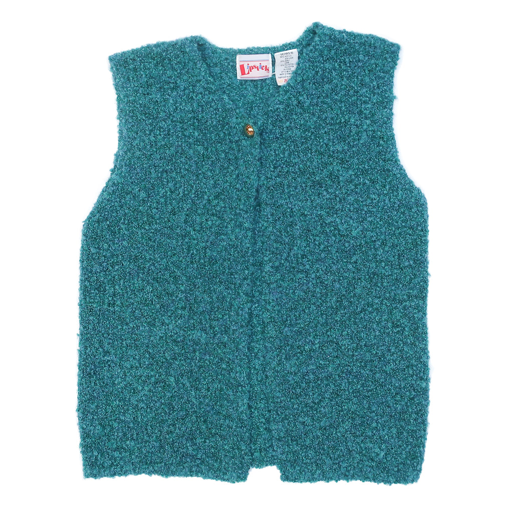 Second Room Vintage Clothing. Vintage wool blend turquoise blue fuzzy sweater vest, with one gold tone button at the top. Super soft and cozy! Free North American shipping on all orders.