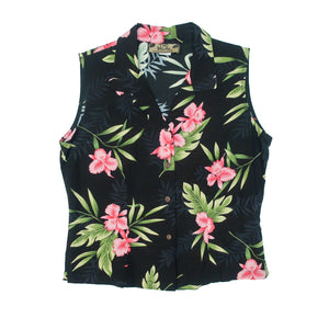 Second Room Vintage Clothing. Vintage black sleeveless button up blouse, with pink tropical flowers and green leaves print. Blouse is an open neck style with no top button, a semi fitted style with darts in the back, and two small side slits. Free Shipping on all orders within North America.