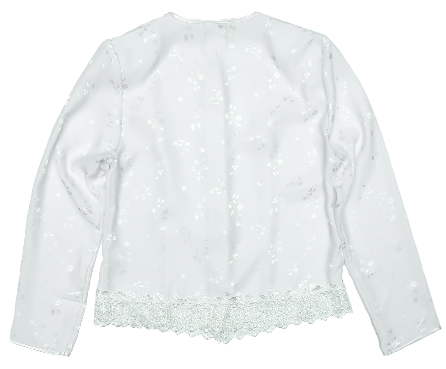 Second Room Vintage Clothing. Get in on the pajama blouse trend with this vintage long sleeve white polyester satin like blouse, with shiny floral pattern, fabric covered buttons and lace trim at the bottom. Free Shipping on all orders within North America.