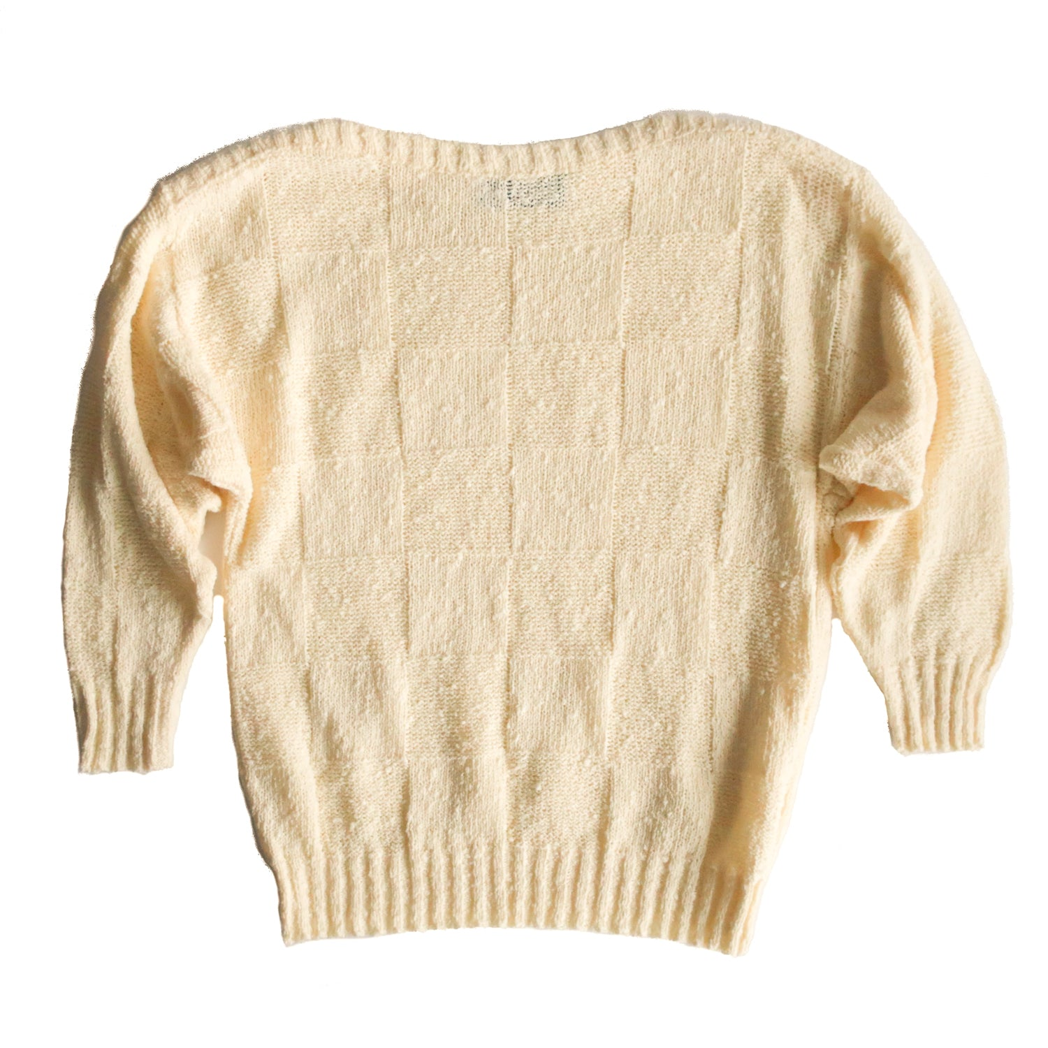 Second Room Vintage Clothing. Vintage pastel yellow sweater, with boat neck, subtle grid pattern, and ribbed cuffs and waist. Free North American shipping on all orders.