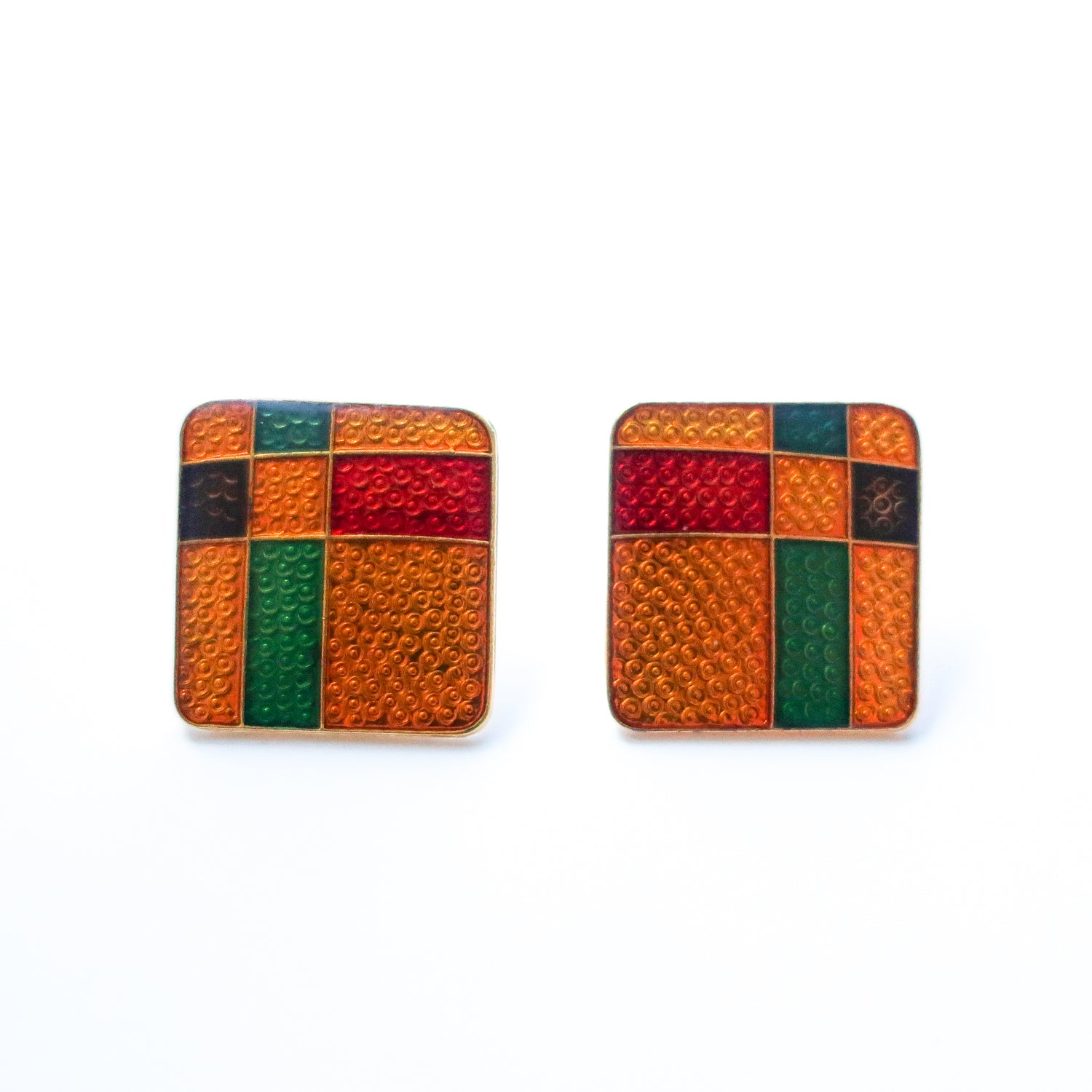 "Second Room Vintage Clothing. Vintage gold tone earrings, with yellow, red, green and purple rectangle design. These earrings are 3/4"" square. Original earring backs have been replaced with new, clear silicone backings. Free North American shipping on all orders."