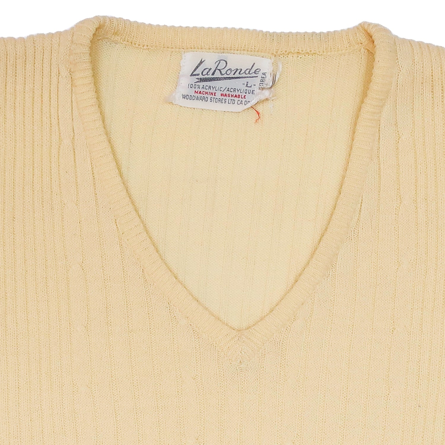 Second Room Vintage Clothing. Vintage light pastel baby yellow ribbed sweater vest/tank top. Sleeveless with v-neck. Free Shipping on all orders within North America.