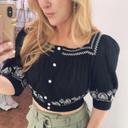 Tama Embroidered Crop Top
