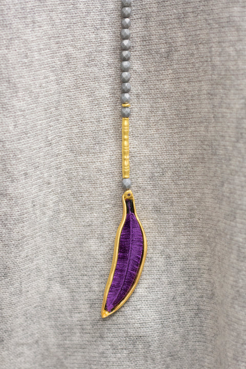 Eva Kay / Grey Feather Gold Necklace