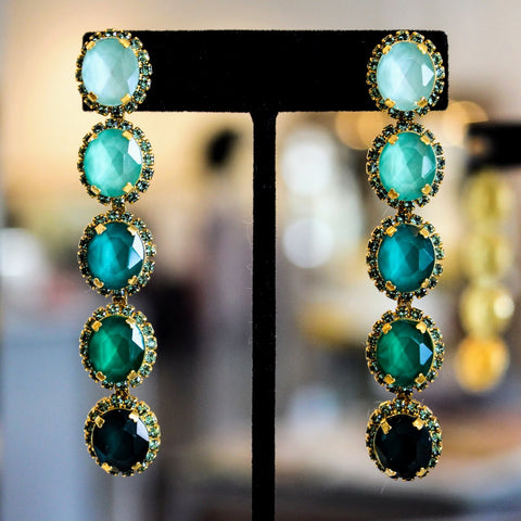Elizabeth Cole / Oval Emerald Drop Earrings