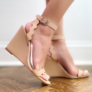 Nude Piper Ankle Strap Wedge Sandal