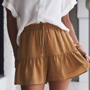 Royal Gold Shorts W/Ruffle