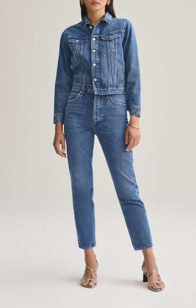 AGOLDE Jeans RILEY HIGH WAISTED STRAIGHT LEG CROP IN AIR BLUE
