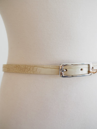 Skinny Croc Cream Belt