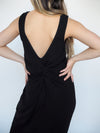Hem & Thread Rib Tank Dress with Twist Back Detail