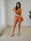 Hem & Thread Mock Neck Grey Distressed Sweater