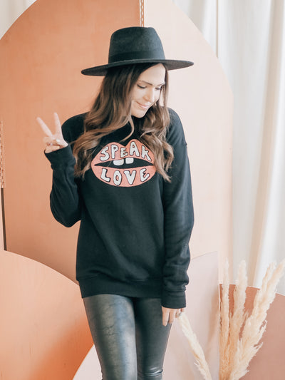 Speak LOVE Black Crewneck Sweatshirt