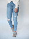 Just Black Denim Light Wash Distressed Ankle Skinny Jeans