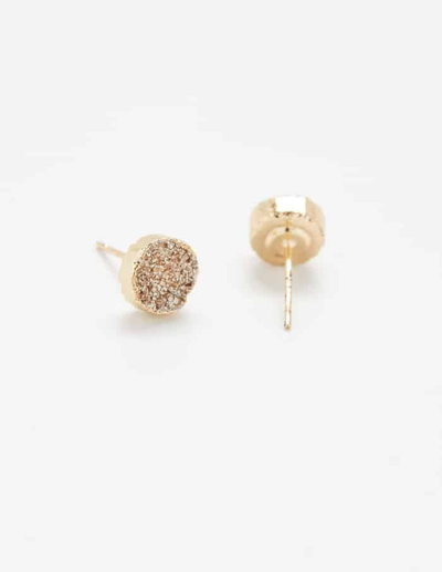 Admiral Row Champagne Gold Druzy Stud Earrings