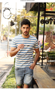 SIMWOOD New Men T shirt Fashion O-neck Short-sleeved Slim Fit Blue Striped T-SHIRT Man Top Tee Plus Size Free Shipping TD1034