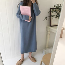 Load image into Gallery viewer, Autumn Winter Knitted Midi Dress Women Loose Jumper Dress Korean Fashion Long Sleeve Bottoming