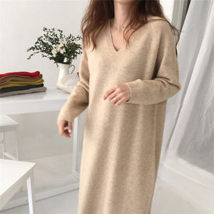 Autumn Winter Knitted Midi Dress Women Loose Jumper Dress Korean Fashion Long Sleeve Bottoming