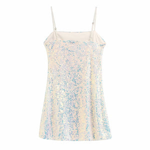 Party Dress Sexy Sequin Mini Dress Sleeveless Camisoles Ladiey Night Clothes Elegant Vestidos