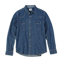 Load image into Gallery viewer, Denim Shirts Men Casual snap button 100% cotton shirt plus size quality