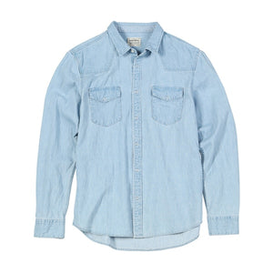 Denim Shirts Men Casual snap button 100% cotton shirt plus size quality