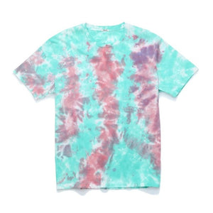 Summer New T-shirt Fashion Tie Dyed Contrast Color Hippe Streetwear