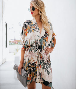 Summer Printed Flower Beach Dress Women Kaftan Bikini Cover Up Side Split Tunic Cape Loose Dress Cardigan Sundress