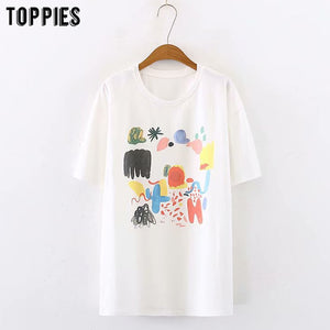 Women Graffiti T-shirt White Cotton Tops Women Short Sleeve Round Neck Tops