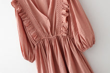 Load image into Gallery viewer, Vintage Lace Spliced Mini Dress Lantern Sleeve Sexy V-neck Summer Dress Solid Color