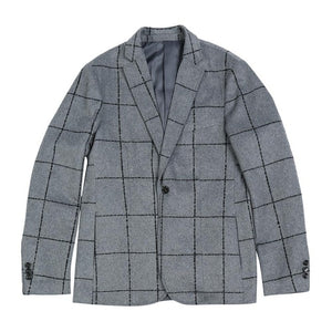 Casual Blazers Men Fashion Plaid Suits Jacket Wool Blend Checked Coats