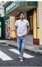 Load image into Gallery viewer, T-shirt Men 100% Cotton Embroidered Casual T Shirt Basics O-neck High Quality