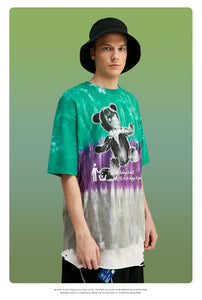 Tshirt Tie Dye In 3 Colors Streetwear Hip Hop Men Tshirt With Bear Printing Oversized