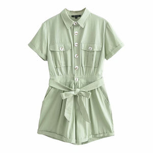 Summer Short Sleeve Jumpsuits Women Vacation Playsuits Lace-up Belt Short Pants Casual