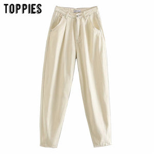 Spring Creamy White Denim Pants High Waist Harem Pants Plus Size Women Trousers