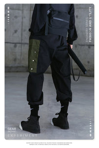 Cargo Pants With Multi-Pocket Black Cargo Techwear Pants Men Wide Leg Cargo Trousers