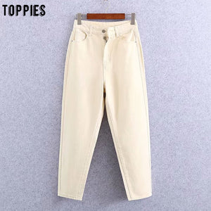Beige Jean Pants Women High Waist Denim Harem Pants Leisure Trousers Casual