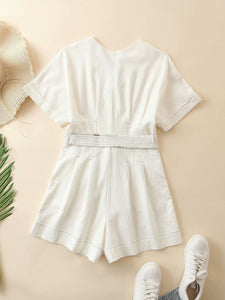 White Cotton Linen Jumpsuits Womens Rompers Summer Jumpsuits Lace Up Vacation Playsuits