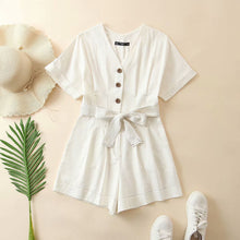 Load image into Gallery viewer, White Cotton Linen Jumpsuits Womens Rompers Summer Jumpsuits Lace Up Vacation Playsuits