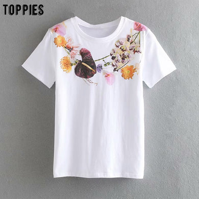Summer Printing White T Shirts Women Tops Short Sleeve Tees Round Neck Cotton Tops