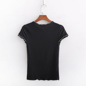 Summer White T-shirts Sexy Slim Tops Tees Women Solid Color Round Neck Crop Tops Womens Fashions