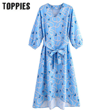 2020 Summer Blue Printing Long Dress Vacation Short Sleeve Slim A-line Dress V-neck Belt