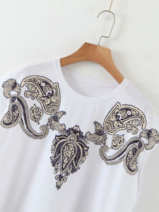 2020 Summer Short Sleeve White T-shirts Women Tops Teees Causal Bat Sleeve Printing Tops Round Neck