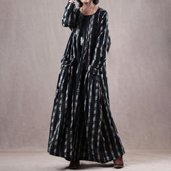Plaid Pockets Loose O-neck Maxi Linen Dress