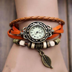 BEST SALE 2018 FASHION WOMENS BRACELET VINTAGE WEAVE WRAP QUARTZ PU LEATHER LEAF BEADS WRIST WATCHES LADY WATCH