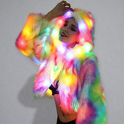 Halloween Fur Coat Rainbow Light up Long Sleeve LED Hooded Jacket Parkas