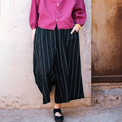 Women Loose Casual Stripe Black Wide Leg Pants